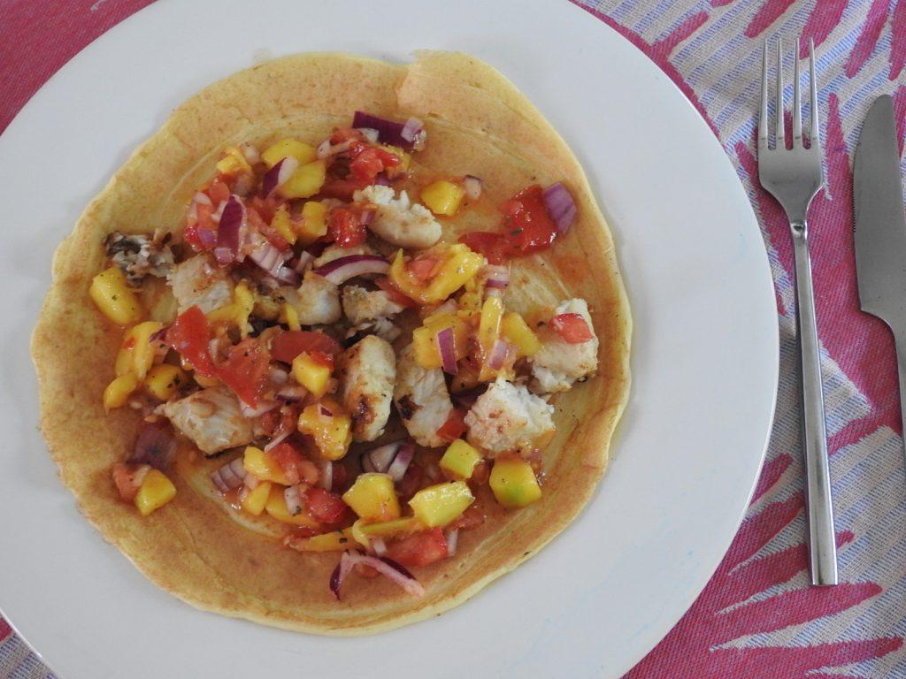 Fischtaccos mit Mangosalsa - glutenfrei