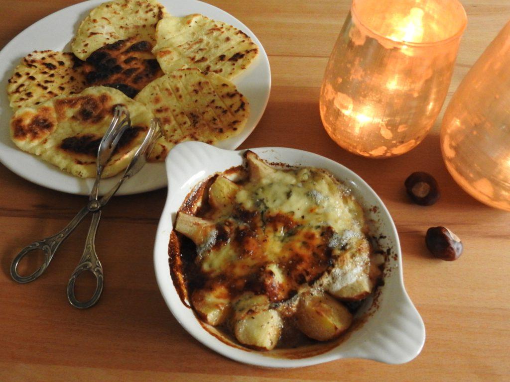 glutenfreies Naanbrot mit Gorgonzola-Birnen